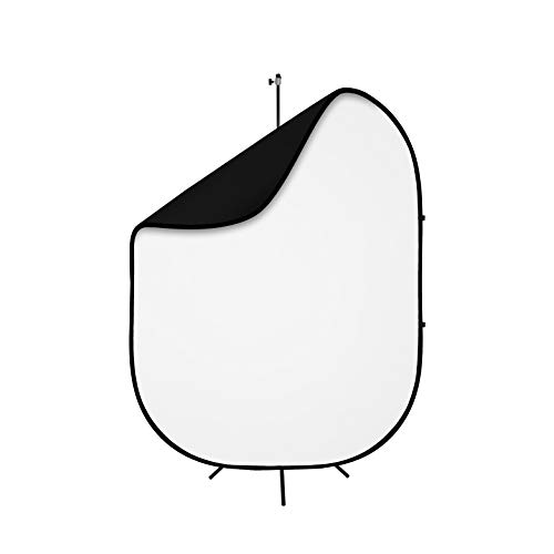 Fovitec Reversible 5'x6.5' Black and White Pop-Up Backdrop with Stand and Clip, for Headshot and Portrait Photography, Vlogging, Video Conference, and Live Stream