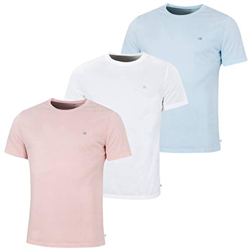 Calvin Klein Golf Herren 3-Pack-T-Shirt - Soft Rosa/Weiß/Blau - S