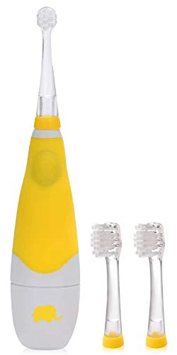 Seago Elektrische Zahnbürste, 0-4 Jahre, elektrische Zahnbürste für Kinder, mit intelligenter LED-Lampe, Timer 2 Minuten, 30 Sekunden, zur Erinnerung (Gelb)