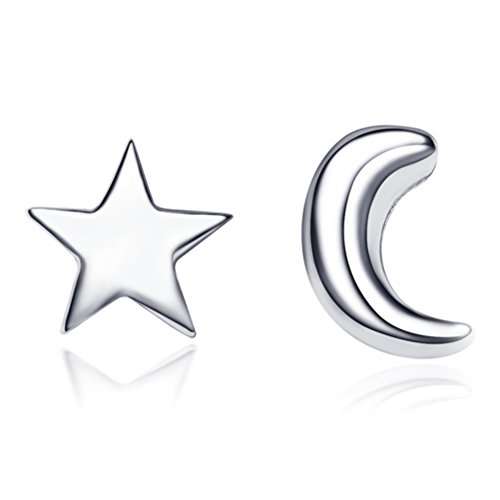 Demarkt Pendientes de Plata de Estrella Luna Mini Estrella y media luna de plata de ley de 925 1Par