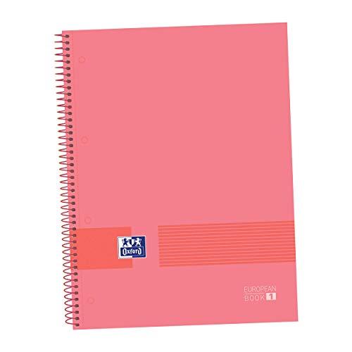 Oxford - Cuaderno microperforado A4, Europeanbook1, tapa dura, cuadrícula 5 x 5, 80 hojas, 90 grs, color watermelon