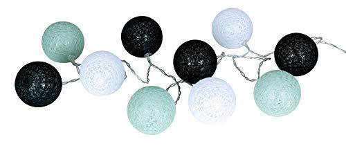 levandeo 10er Lichterkette LED Kugeln Lampions Baumwolle Grün Mintgrün Braun Weiß Cotton Girlande Deko Cottonballs