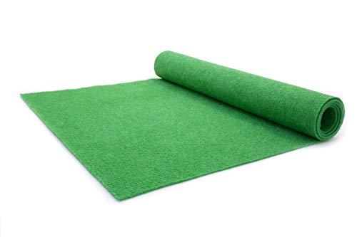 Nadelfilz Teppich-Boden RIPS MALTA B1 als Meterware - Grün, 2,00m x 5,00m, Schwer Entflammbarer, Gerippter Bodenbelag für Messe & Event