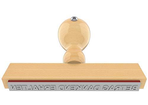 Holzstempel BETRAG DANKEND ERHALTEN in 90x10 mm, 1-zeiliger Text in Arial Narrow fett, 18 pt, klassischer Firmenstempel