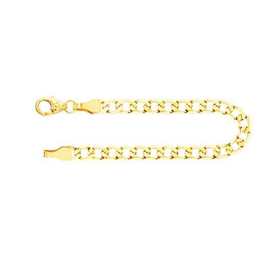 Echtgold Armband Herren Gold 3.9 mm, Panzerkette weit 333 aus Gelbgold Goldarmband mit Stempel und Karabinerverschluss mit Schlaufe, Länge 21 cm, Gewicht ca. 3.7 g, Made in Germany