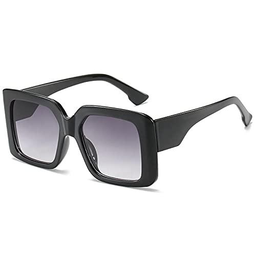 WANGZX Gafas De Sol Cuadradas De Gran Tamaño Moda para Mujer Gafas De Sol con Tapa Plana para Mujer Gafas para Mujer Uv400 C1Negro-Gris