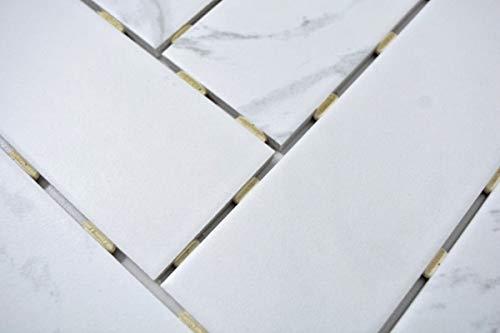 Handmuster Mosaik Fliese Keramik weiß Fischgrät Carrara in Dot Joint MOS24CJ-0102_m