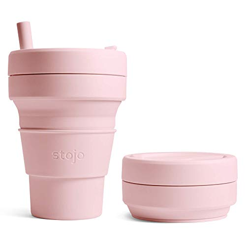 Stojo Collapsible Coffee Cup | Reusable To Go Large Pocket Size Travel Cup – Carnation Pink, 16oz / 470ml | With Straw