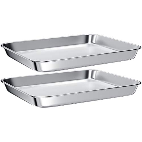Toaster Oven Tray Pans,Small Baking Sheet Stainless Steel Toaster Oven Baking Pan and Cookie Sheet,Rectangle Size 10.4 x 8 x 1 inch,Mirror Finish & Anti-Rust,Thick & Sturdy(2 Pieces)