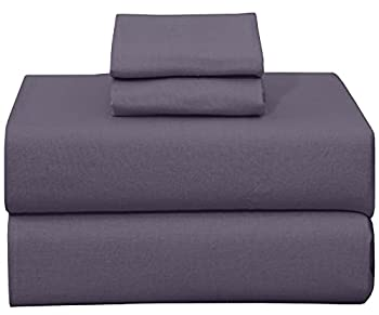 Ruvanti 100% Cotton 4 Piece Flannel Sheets Queen-Deep Pocket-All Seasons-Warm-Super Soft-Purple Grey-Breathable & Moisture Wicking Flannel Bed Sheet Set Queen Include Flat,Fitted Sheet & 2 Pillowcases