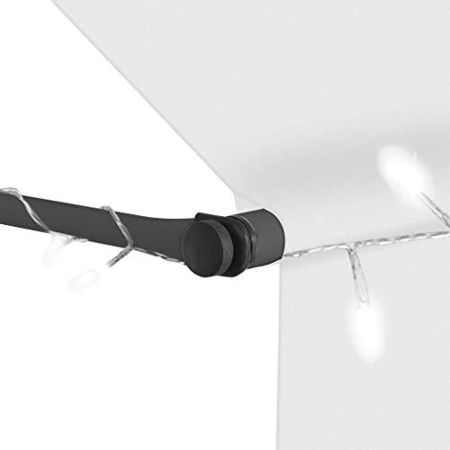 GOTOTOP Toldo retráctil con Solar LED para Ventanas 150 x 120cm, Altura Ajustable 2-3 M, Toldos Impermeables Protección Solar con manivela para Balcón y Terraza, Crema
