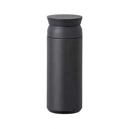 Mug Isotherme transportable,Fiole à Vide en Acier Inoxydable, Tasse à Eau littéraire Portable et Simple, Tasse à café accompagnante, Bouteille de Sport pour l'extérieur, Noir