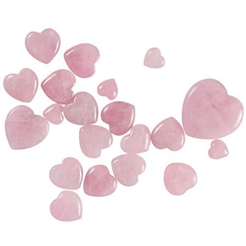 VICASKY Herz Natürlichen Rosenquarz Polierten Kristall Liebe Herz Palmenstein Charme Ausgleichenden Sorgen Stein Edelstein für Wicca Reiki Und Energiekristall Heilung 15X15x10mm Rosa