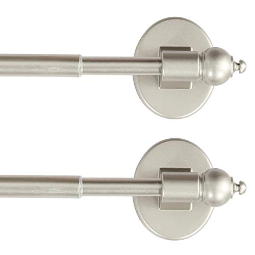 "H.VERSAILTEX Magnetic Curtain Rods Multi-Use Adjustable Petite Cafe Sidelight Magnetic Rods Tool Free for Iron and Steel Place (2 Pack, 16""-28"", Nickel)"