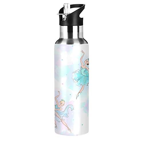 ADKing - Botella de agua con diseño de bailarín de ballet, diseño de gradiente de 20 onzas para deportes a prueba de fugas, botella de agua sin BPA, acero inoxidable