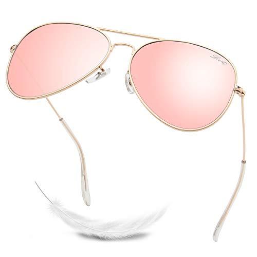 LIVHO Classic Aviator Sunglasses for Women Men Polarized,Metal Frame Mirror UV Lens Protection(Gold Cherry powder, 58)