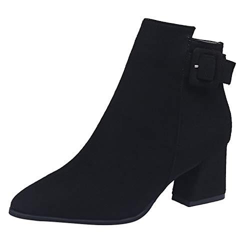 Hniunew Wildlederschuhe Damen Herbst Winter Wildlederstiefel Britischer Stil Nackte Stiefel Fashion Zip Stiefel Klobige AbsäTze Tanzstiefel Schneestiefel Pumps High Heels Boots