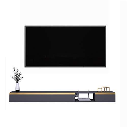 Étagère Meuble de télévision Mural Meuble TV Suspendu en Bois, Console multimédia Murale, Meuble TV Polyvalent, Structure Stable, Fils de Gestion cachés (Blanc/Gris) (Color : Gray, Size : 160cm)