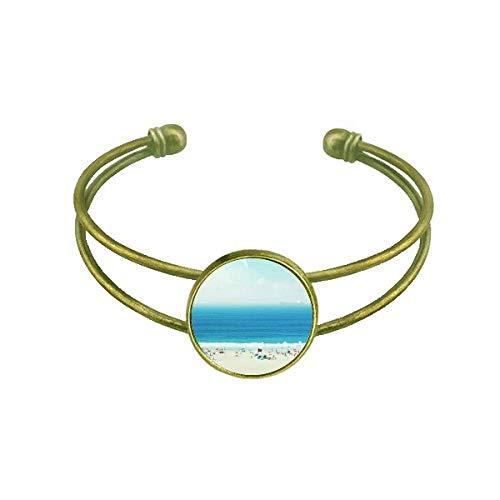 DIYthinker Ocean Sand Strand Wissenschaft Natur Bild Armband Armreif Retro offene Manschette Schmuck
