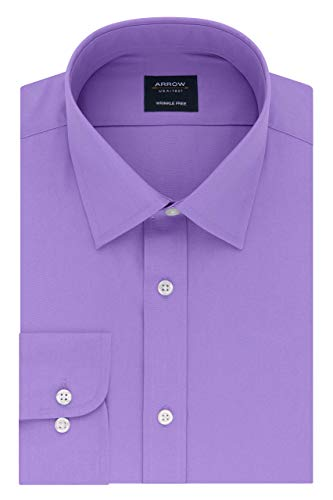 Arrow 1851 mens Poplin (Available in Regular, Slim, Fitted, and Extreme Slim Fits) Dress Shirt, Lavender, 17 -17.5 Neck 34 -35 Sleeve X-Large US