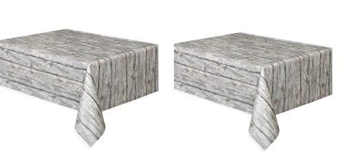 "Rustic Wood Plastic Tablecloth, 108"" x 54"" (2 pack)"