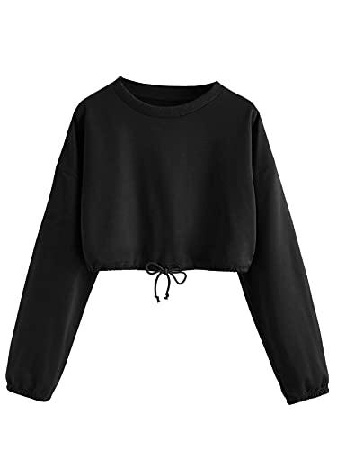 DIDK Damen Crop Sweatshirts Bauchfrei Pullover Langarm Oberteil Crop Top Kurz Herbst Pulli mit Ziehbändchen Schwarz M
