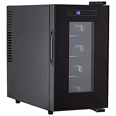 Cooks Professional Mini Drinks Fridge Freestanding Counter Top Wine Cooler Vertical (Medium 8 Bottle)