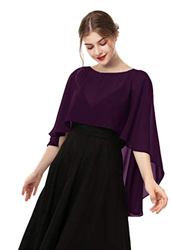 Capelets for women Chiffon Cape Shawls and Wraps for Evening Dress (Plum)