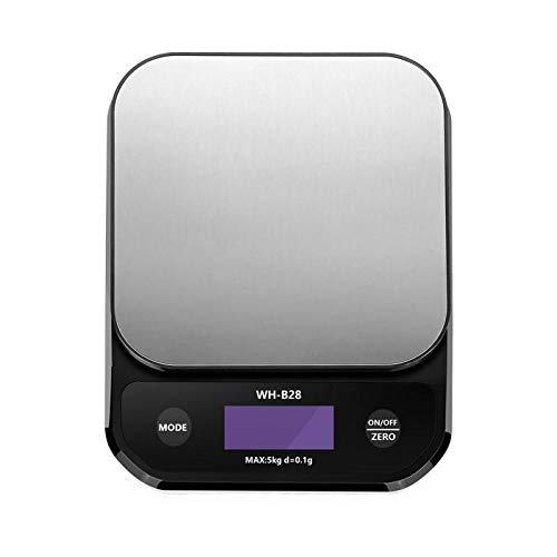 GUOCAO Báscula de café de 5 kg/0,1 g con temporizador, escala de café inteligente de precisión, báscula de cocina portátil para el hogar (color: como se muestra, rodamiento de carga: 1 pieza)