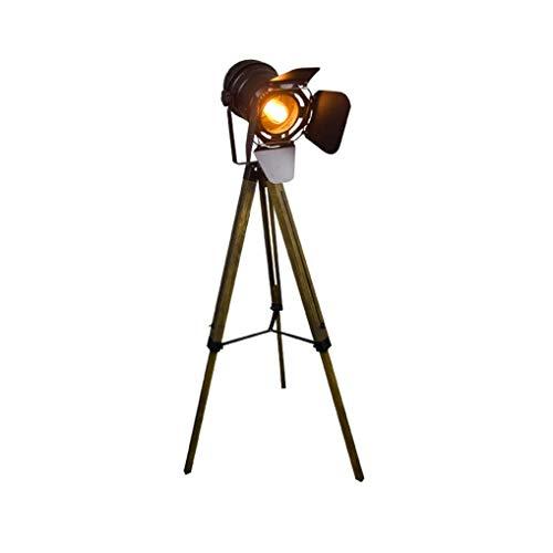 Vintage Floor Lamp, Industrial Retro Floor Light Made of Metal and Wood, Foot, Living Room Lamp for Living Room, Bedroom, Office, E27