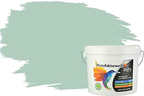 RyFo Colors Bunte Wandfarbe Manufakturweiß Eukalyptus 6l - weitere Grün Farbtöne und Größen erhältlich, Deckkraft Klasse 1, Nassabrieb Klasse 1