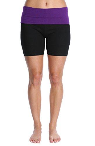 Blis Damen Yoga Workout Short mit Foldover Farbe Waistband xx-Large lila s20