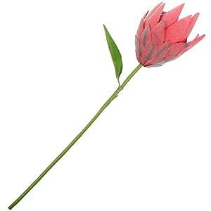 VOSAREA Artificial Protea Cynaroides Tropical Flowers Real Touch Flocked Silk Flower for Wedding Bouquet Home Kitchen Flower Arrangements Decor Red