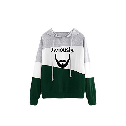 PTX Pullover Nueva Camiseta más vendida y más vendida de Moda Sudadera con un Solo Producto Salvaje Unisex (Color : Green04, Size : S)