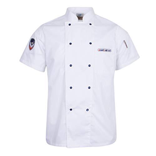 SM SunniMix Uniforme de Chef Unisex Trabajo Botón a Presión Camisa de Manga Corta Chaqueta Tops - Azul, 3XL - Blanco, SG