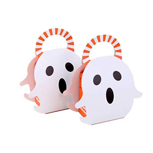 TOYANDONA 12 Stücke Halloween Tragetaschen Geist Tasche Papier Geschenktüte Geschenktasche Papiertüte Deko Süßigkeiten Tüten Beutel für Halloween Mitgebsel Partyartikel Scherzartikel