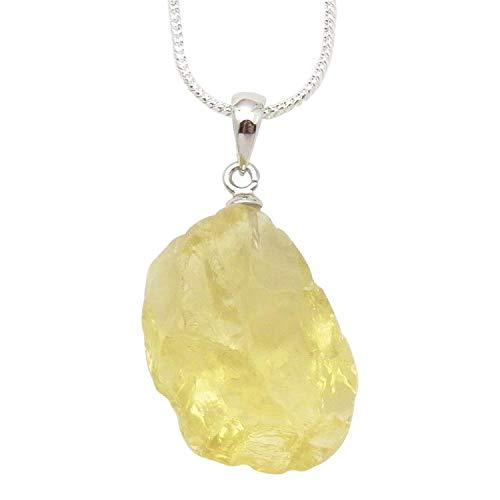 Fundamental Rockhound: Natural Rough Lemon Quartz Pendant Necklace With 18&Quot; Chain Size Lg