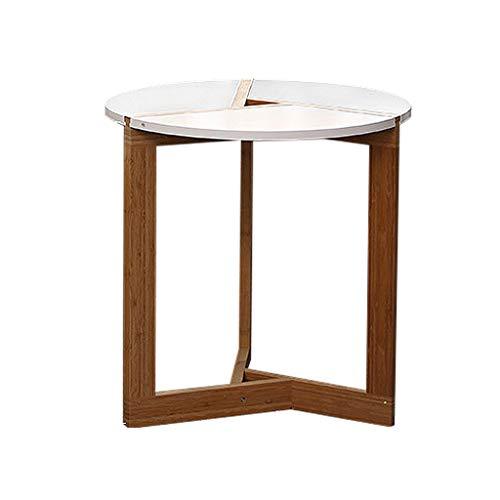 qazxsw Couchtische Weißer runder Sofatisch Tisch Holzstämme Kleiner Tisch Runder Tisch