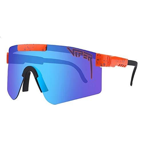 Broccoli Gafas de Sol Polarizadas de Doble Ancho, Lentes, Azul, Gafas de Sol para Ciclismo Gafas de Sol Polarizadas UV400 con Diseño Curvo y Más Ancho para Hombres y Mujeres,C27