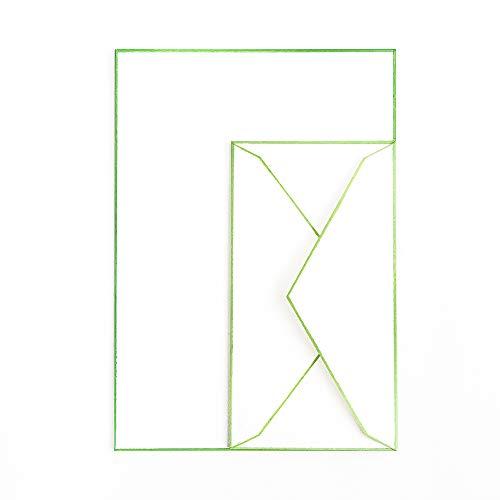 木版摺 色ふちレターセット 緑 | 和紙 手紙 レターセット 封筒付き 便箋 刷毛引き 職人 手作業