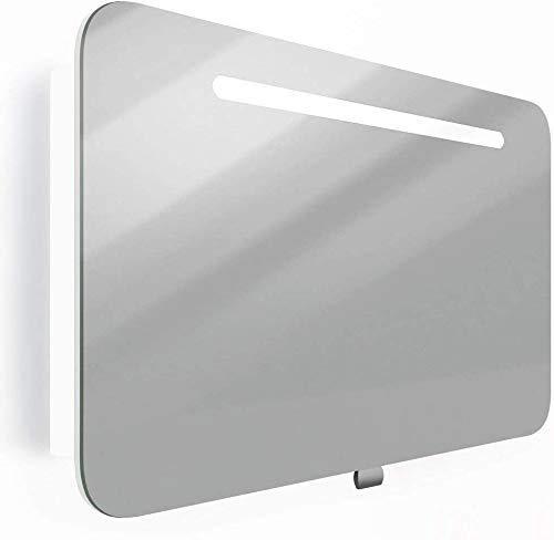 HENRY Spiegelschrank Badmöbel Weiß | 80 x 55 x 13,5 cm (BxHxT) | Halogen-Beleuchtung | Licht und Schalter | Hochglanz Lackierung Weiß | Glaseinlegeboden | Soft-Close | Montagefertig vormontiert