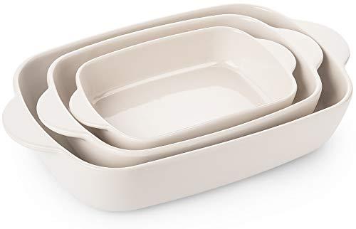 Krokori ベーキング皿 長方形セラミックベーキングパンセット ラザニアパン ベーキングウェアセット オーブン/ラザニア/ディナー/ケーキ/宴会/日常使用に - 3点 (11 x 7.5インチ ベージュ)