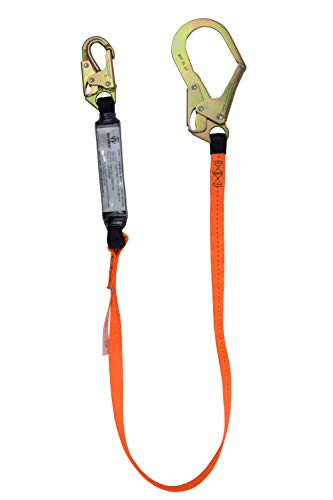 SafeWaze V-Line Economy High-Profile 6 Foot Energy Absorbing Shock Lanyard with Rebar Hook | Construction and Industrial Use, OSHA/ANSI Compliant (FS88565-E)