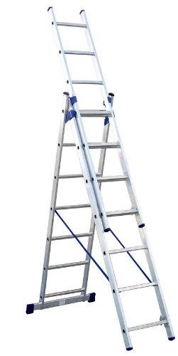 3-teilige Aluminium Mehrzweck und Kombileiter 3 x 9 Stufen