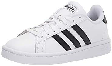 adidas mens Grand Court Sneaker, White/Black/White, 12 US