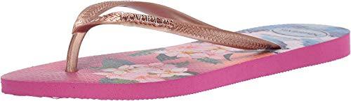 Havaianas Women's Slim Tropical Sunset Sandal, Hollywood Rose, 7-8