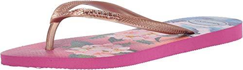 Havaianas Women's Slim Tropical Sunset Flip Flop Sandal, Hollywood Rose, 9-10