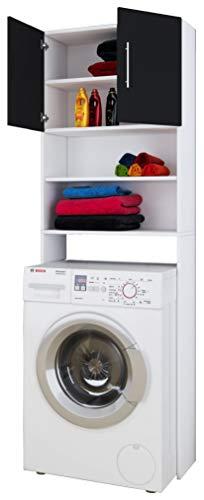 VCM Waschmaschinenschrank Badschrank Hochschrank Überbau Schrank Bad Möbel Regal Schwarz / Weiß 190 x 64 x 25 cm