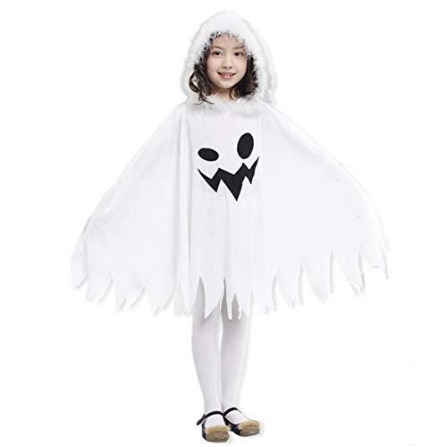 Chytaii Cape mit Kapuze, Halloween, lang, für Kinder, Kostüm, Gespenster, Mantel mit Kappe, Kostüm, Weiß