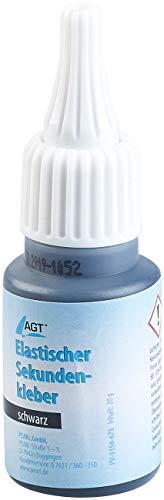 AGT Flexibler Kleber: Elastischer Sekundenkleber mit Dosierspitze, 20-g-Flasche, schwarz (Sekundenkleber flexibel)